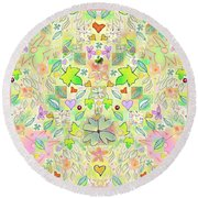 Leaf And Flower And Heart Pattern  Round Beach Towel