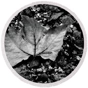 Leaf And Pebbles Bw Round Beach Towel