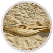 Round Beach Towel featuring the digital art Leaf In The Sand by Francesca Mackenney