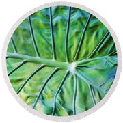 Leaf Pattern Round Beach Towel