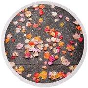 Leafy Autumn Walk Round Beach Towel