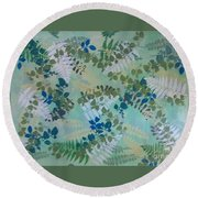 Leafy Floor Cloth - Sold Round Beach Towel by Judith Espinoza