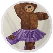 Round Beach Towel featuring the painting Leah's Ballerina Bear 1 by Tamir Barkan