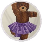 Round Beach Towel featuring the painting Leah's Ballerina Bear 2 by Tamir Barkan