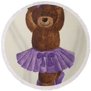 Round Beach Towel featuring the painting Leah's Ballerina Bear 3 by Tamir Barkan