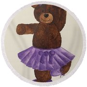 Round Beach Towel featuring the painting Leah's Ballerina Bear 4 by Tamir Barkan