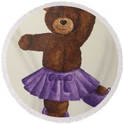 Round Beach Towel featuring the painting Leah's Ballerina Bear 5 by Tamir Barkan