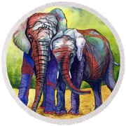 Round Beach Towel featuring the painting Lean On Me by Barbara Jewell