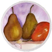 Leaning Pear Round Beach Towel by Lynne Reichhart