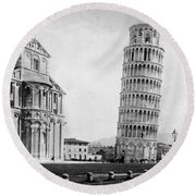 Leaning Tower Of Pisa Italy - C 1902  Round Beach Towel by International  Images