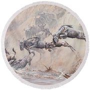Round Beach Towel featuring the painting Leap Of Faith by Alan M Hunt