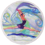 Leap Of Joy Round Beach Towel