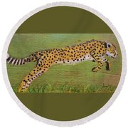 Leaping Cheetah Round Beach Towel by Ann Michelle Swadener