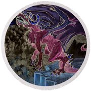 Round Beach Towel featuring the mixed media Leaping Dragon 2 by Reed Novotny