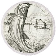 Round Beach Towel featuring the drawing Leaping Tarpon by Charles Harden