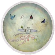 Round Beach Towel featuring the digital art Learning To Fly by Sue Collura