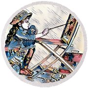 Round Beach Towel featuring the digital art Learning To Paint by Pennie McCracken