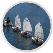 Learning To Sail Round Beach Towel