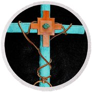 Leather And Stone Cross Round Beach Towel by M Diane Bonaparte