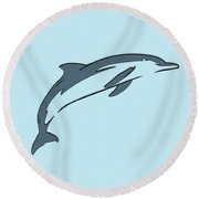 leather Dolphin Round Beach Towel