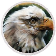 Leather Eagle Round Beach Towel by J W Baker