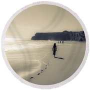 Leave Nothing But Footprints Round Beach Towel