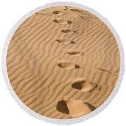 Leave Only Footprints Round Beach Towel