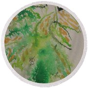Round Beach Towel featuring the drawing Leaves by AJ Brown