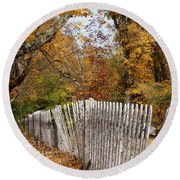 Leaves Along The Fence Round Beach Towel