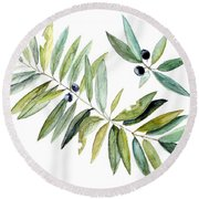 Round Beach Towel featuring the painting Leaves And Berries by Laurie Rohner
