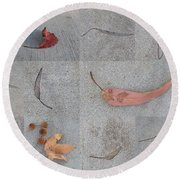 Round Beach Towel featuring the photograph Leaves And Cracks Collage by Ben and Raisa Gertsberg