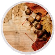 Leaves And Nuts 1 Round Beach Towel by Rebecca Cozart