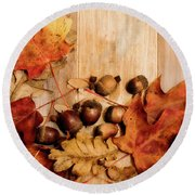 Leaves And Nuts 2 Round Beach Towel by Rebecca Cozart