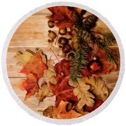 Leaves And Nuts And Red Ornament Round Beach Towel by Rebecca Cozart