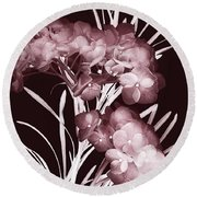 Leaves And Petals I Round Beach Towel