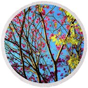 Leaves And Trees 980 Round Beach Towel