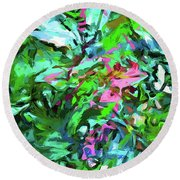 Leaves Buds Green Pink Round Beach Towel