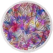 Leaves Colorful Abstract Design Round Beach Towel