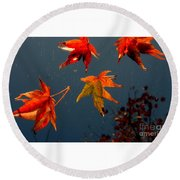 Leaves Falling Down Round Beach Towel