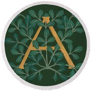 Leaves Letter A Round Beach Towel