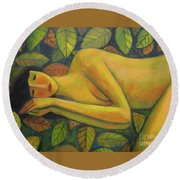 Round Beach Towel featuring the painting Leaves Of Absence by Glenn Quist