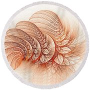 Leaves Of The Fractal Ether-2 Round Beach Towel