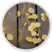 Leaves On Planks Round Beach Towel