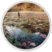 Leaves On The Lake Round Beach Towel