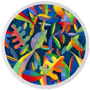 Leaves On Water Abstract Round Beach Towel