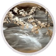 Leaves Over Gossamer Waters Round Beach Towel