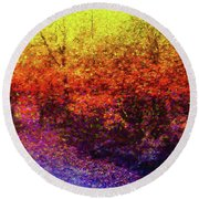 Leaves Round Beach Towel by Roger Lighterness