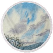 The Blue Hills Of Summer Round Beach Towel