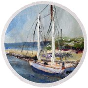 Round Beach Towel featuring the painting Leaving Sesquit Harbor by Michael Helfen