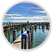 Leaving The Harbour Round Beach Towel